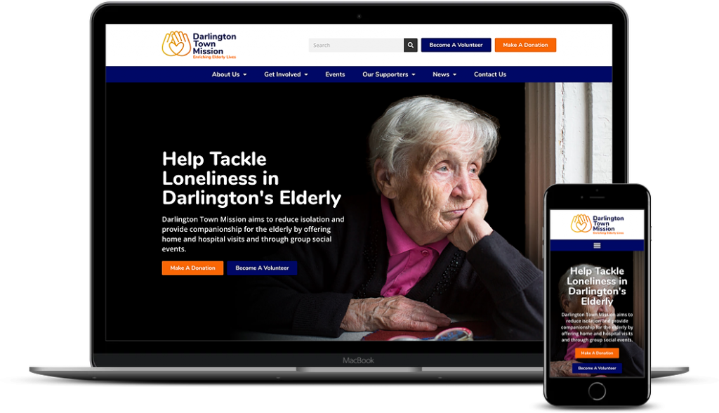 Darlington Town Mission Website on Desktop & Mobile