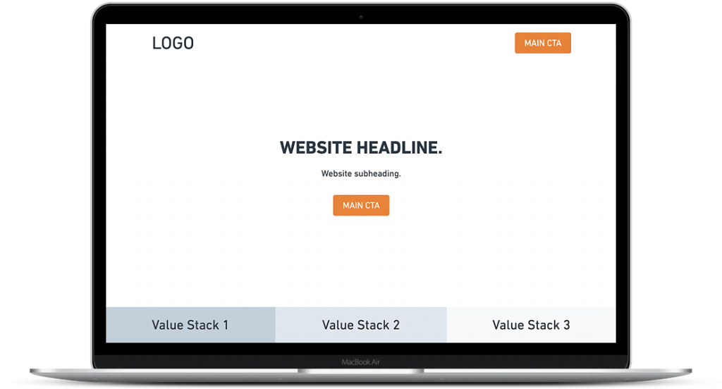 Homepage layout with main CTA